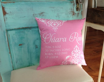 Personalized Baby Pillow with Birth Information for Baby Girl