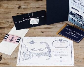 Cape Cod Vintage Map Wedding Invitation