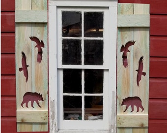 Bears and Eagles Wood Shutters