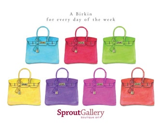 LARGE Hermes Birkin bag print - A Birkin for every day of the week print