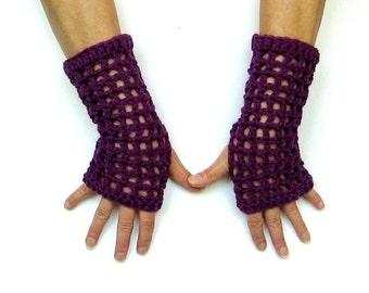 Purple Crochet Fingerless Gloves Wristwarmers Texting Gloves Boho Gloves