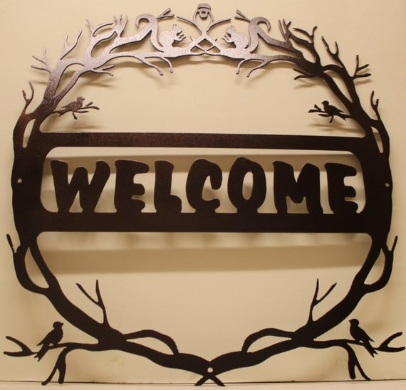 Metal Signs For Home Decor: Nature Welcome Sign Metal Wall Art Home Decor