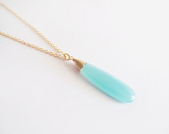 Aqua Blue Gold Glass Drop Necklace - Bridesmaid Gift - Gift for Her