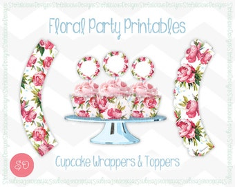 Pink Rose Floral Cupcake Wrappers & Toppers Party Printable Set [Instant Download]