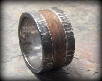 Rustic Distressed Sterling Silver and Copper Wide Wedding band robust ring