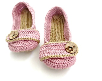 Women's Crochet Slippers - Button Tab Slippers - Women's sizes - custom made - orchid pink sand tan