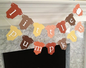 Baby Shower Decor, Little Pumpkin Banner, Fall Baby Shower Decor, Autumn Baby Banner, Pumpkin Baby One-Piece Banner, Gender Neutral Banner