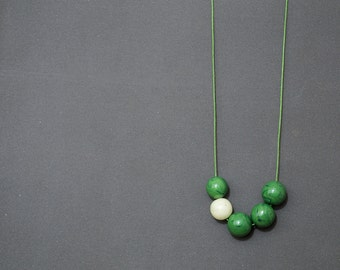 Asymmetric necklace Polymer clay necklace Beadwork necklace Green necklace Geometric Beaded necklace White  necklace Boho Metal free Casual