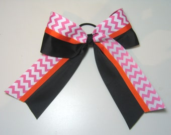 Big Cheer Bow - Extra Large Cheer Bow in Solid Black, Orange and Shocking Pink and White Chevron Zig Zag Stripes