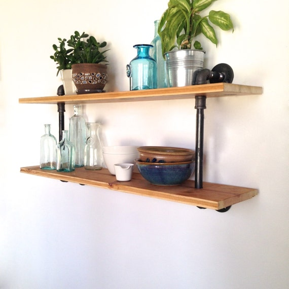 waldorf reclaimed wood wall shelf reclaimed wood pipe. Black Bedroom Furniture Sets. Home Design Ideas