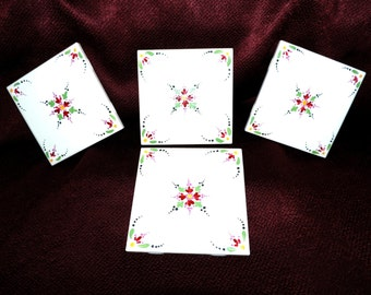Set of 4 Ceramic Tile Coasters, Stylized Red Dot Flowers