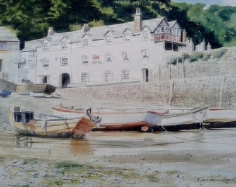 Sunny day in Clovelly Harbour, North Devon watercolour painting by Marc Winstanley