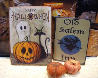 Happy Halloween Miniature Wooden Plaque
