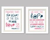 Hebrews 6:19 Print, Psalm 934, Scripture print, Pink and navy scripture print, Nautical print