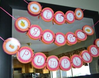 Pink and Orange Pumpkin Birthday Banner