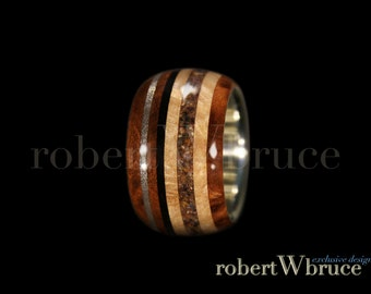 Meteorite & Dinosaur Bone Men's Exotic Wood Ring // Thuya Burl, Satinwood, Ebony w/ Sterling Silver Liner - Exclusive rWb Custom Design