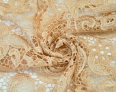 Venice Embroidered Sand Lace Fabric for Wedding Lace Bridal Elegant Dress French Guipure Lace by the yard- 1 Yard Style 5001