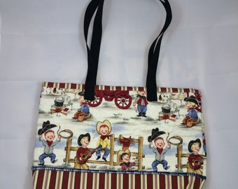 Michael Miller,  Cute Little Cowboys Tote or Diaper bag (finished product).