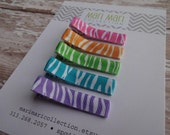 Zebra Rainbow Hair Clips, Zebra Hair Clips, Hair Clippies, Baby Hair Clip, Set of 5 Zebra Clips, Hair Accessories,Baby Barrettes, Zebra
