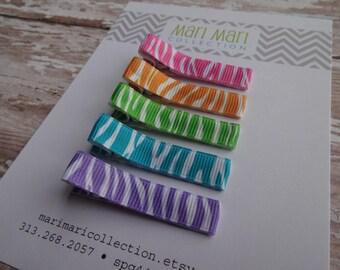 Zebra Rainbow Hair Clips - Zebra Hair Clips - Hair Clippies - Baby Hair Clip - Set of 5 Zebra Clips - Hair Accessories - Baby Barrettes