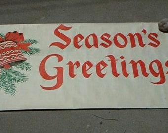 Christmas, Seasons Greetings, Sign, Banner, Christmas Decor, Christmas Ephemera, Vintage, RhymeswithDaughter