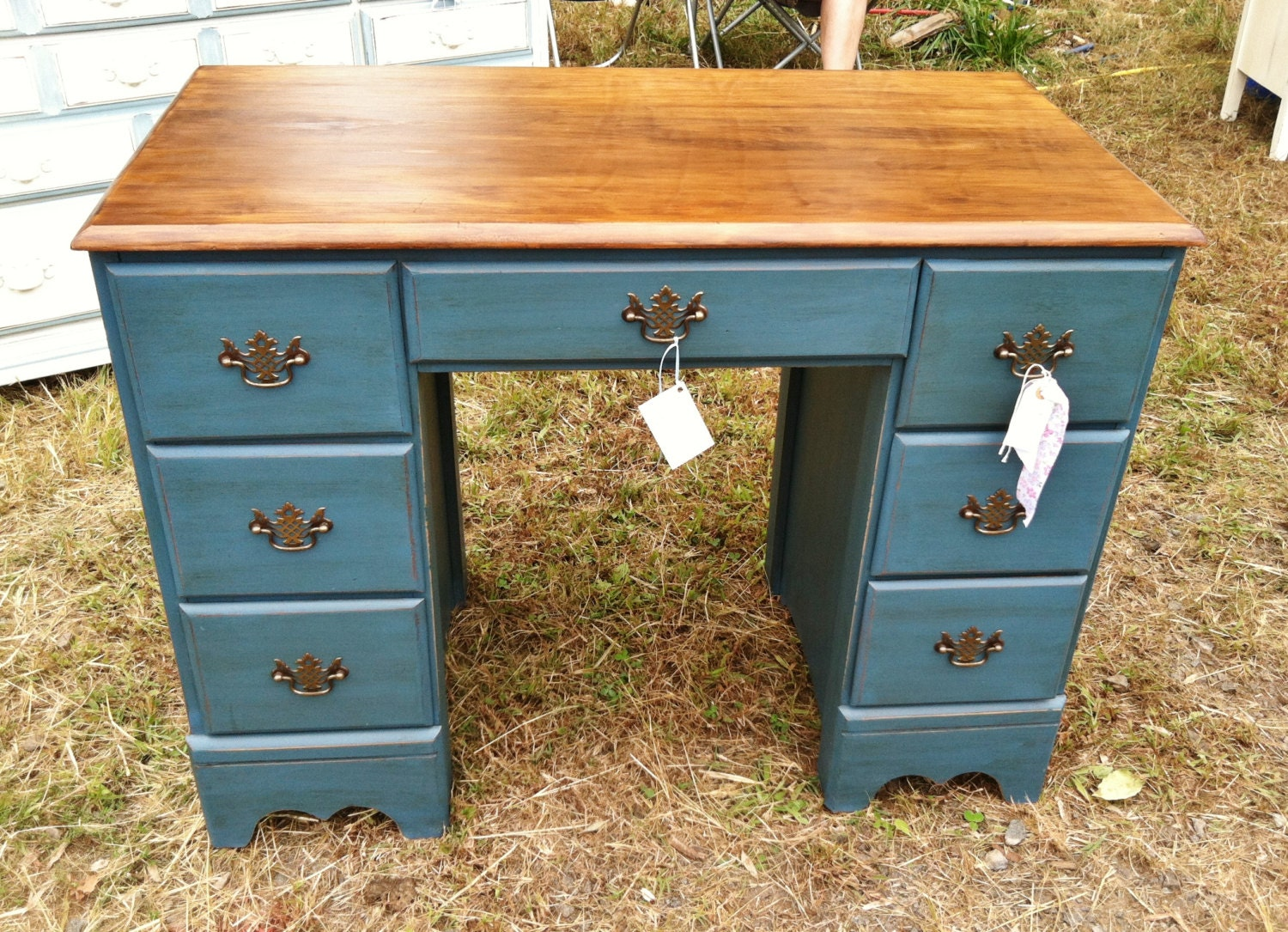 Aubusson Blue Painted Desk With A Wood Stain Top