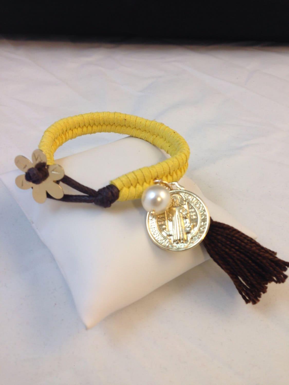 Yellow fishtail braided bracelet. Handmade. Green by ...
