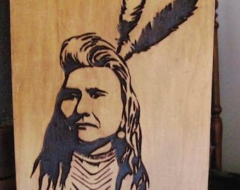 Native American Indian Portrait Handmade Wood Carving Wall Art