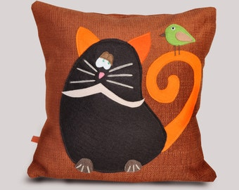 Decorative pillow, cat pillow, bird, funny pillow, original kids room decor, baby room, room decor, cushion cover, child bedroom, handmade.