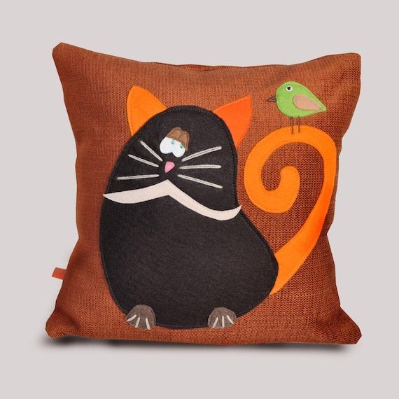 Decorative Pillows Funny : Decorative pillow cat pillow bird funny pillow original