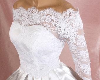 Plus Size   Bridal  Off-Shoulder / Lace wedding jacket/ Bolero shrug/  jacket /bridal lace top