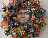 Man in the Moon Wreath, Fall - Halloween Wreath, Fall Door Wreath, Door Wreath, Deco Mesh Wreath