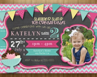 Ice Cream Shoppe Birthday PRINTABLE Invitation pink blue teal yellow chevron