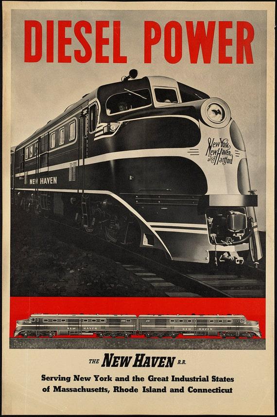 c.1930s Diesel Power N... Vintage Train Poster