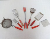 RESERVED - Instant Collection of Red Vintage Kitchen Tools and Gadgets