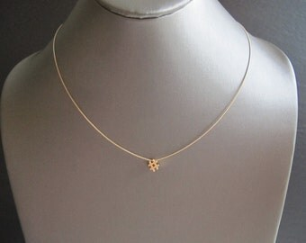 Gold Hash Tag Wire Necklace