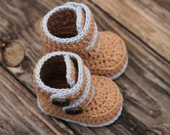 "Crochet Pattern Baby Booties, Baby Boy Booties ""Kohl Button Boot"" Modern Bootie Pattern, Boys, Crochet Booties PATTERN ONLY"