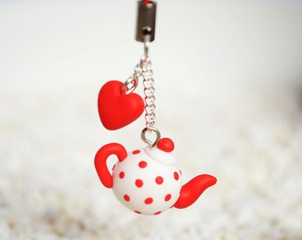 Teapot Polymer Clay Phone Charm - Red and White Polkadot Strap