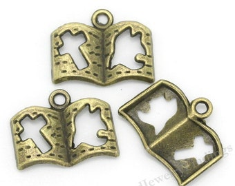 10 Christian Charms in Bronze - Bible Charms -  Antique Tibetan Bronze Findings -MC0172