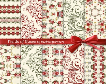 """Floral digital paper : """"Fields of Roses"""" floral ornaments, floral backgrounds, digital floral paper for scrapbooking, invites, cards"""