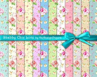 "Shabby chic digital paper : ""Shabby Chic Love"" floral digital paper with roses on colorful background / cottage chic digital paper / roses"