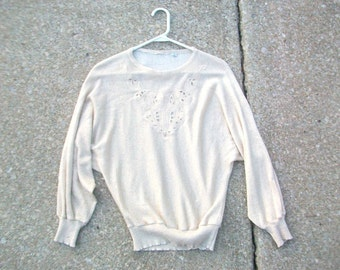 Vintage Sweater, Gold Sweater, Sparkly Sweater, Glittery Sweater, Applique Sweater, Gold on Gold, Gold Glitter Sweater, Sparkly Gold Sweater