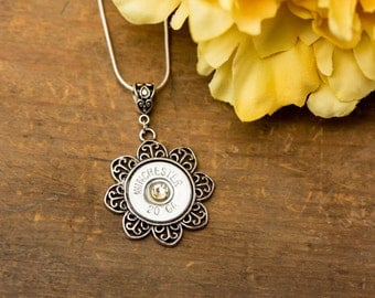 Shotgun Bullet Casing Jewelry - Filigree Flower Bullet Necklace w/ 20 Gauge Shotgun Casing