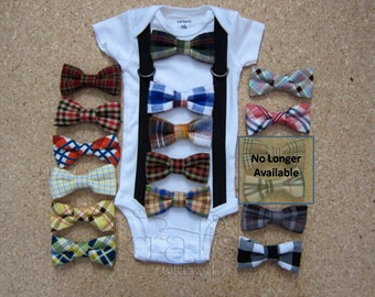 Baby Boy Suspender Outfit and your choice of 1 removable PLAID/CHECKER bow tie (see additional photos for ties)