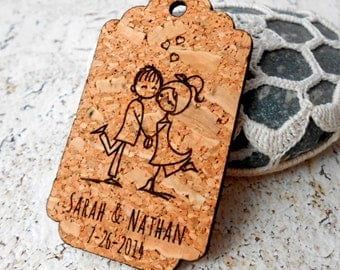 Personalized wedding favor tags, custom engraved cork tags, rustic, woodland, vineyard, farm, barn wedding favor tags, diy wedding