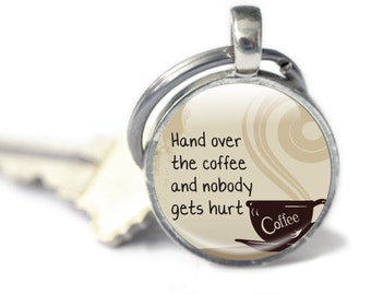 Coffee Keyring, Coffee Keychain, Need Coffee, coffee Drink, Gift for coffee lover, glass coffee keyring, metal coffee keyring, funny, humour