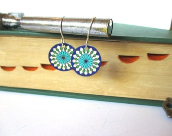 Flower Mandala Earrings, Hand Drawn, Flower Jewelry, Flower Earrings, Mandala Jewelry, Flower Mandala Design, Circle Earrings