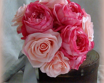 Pink Rose Bouquet, Pink Garden Rose Bouquet, Wedding Bouquet, Shades of Pink Bouquet,