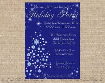elegant christmas party invitation, handmade digital file, christmas tree invite, christmas invite - Digital File - DIY PRINTABLE