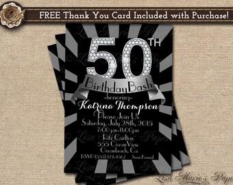 50 birthday invitation, 50th birthday party invitation,diamond birthday handmade digital invitation - Digital File - DIY PRINTABLE